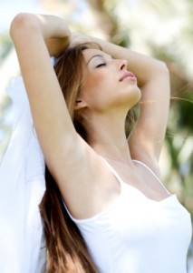 Woman Relaxing With Her Eyes Closed Stock Photo